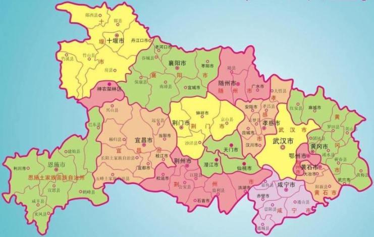 湖北省地级市分布图