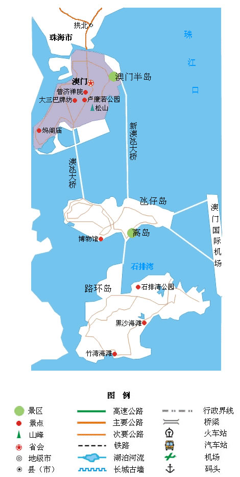 澳门旅游景点地图