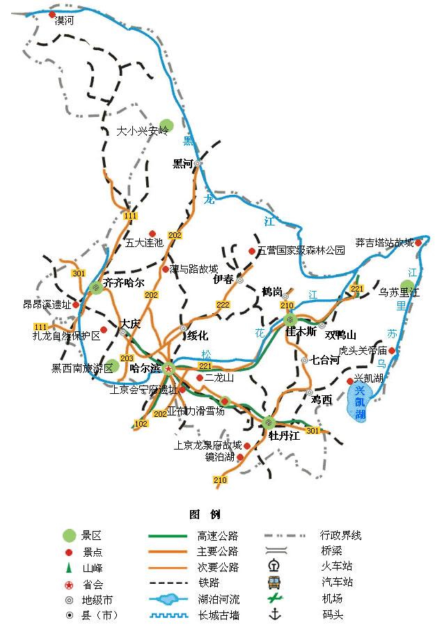 黑龙江旅游景点地图