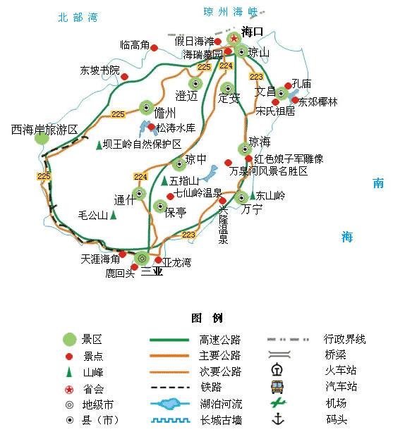 海南旅游景点地图 - 海南景点地图 - 海南省旅游交通