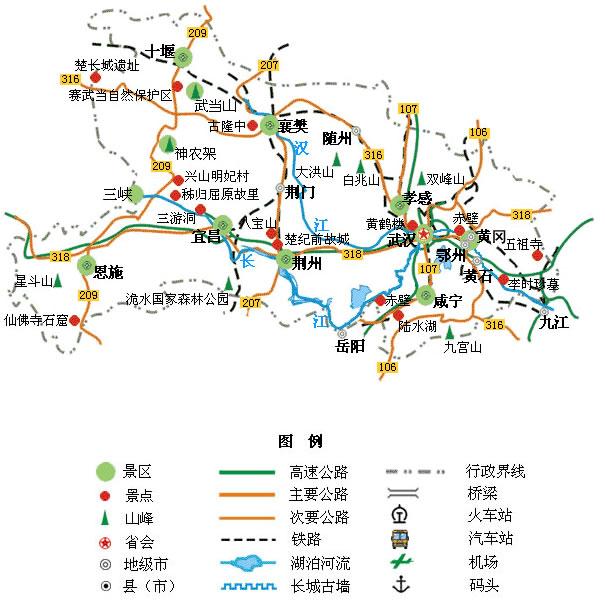 湖北旅游景点地图
