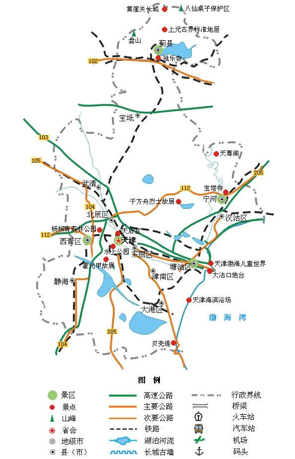 天津旅游景点地图